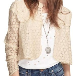 Free People Better Together Cream Lace Cardigan M